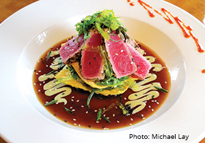 Goombays dining seared sashimi tuna and seaweed dish