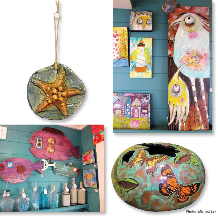 Blue Pelican Gallery Hatteras Village colorful ceramic pendant paintings pottery