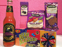 Harry Potter sweets including root beer, chocolate jellys and jelly bellys