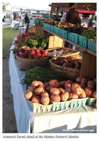 Somerset Farm's stand at the Manteo Farmer's Market.