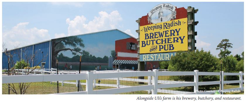 Alongside Uli's farm is his brewery, butchery, and restaurant.