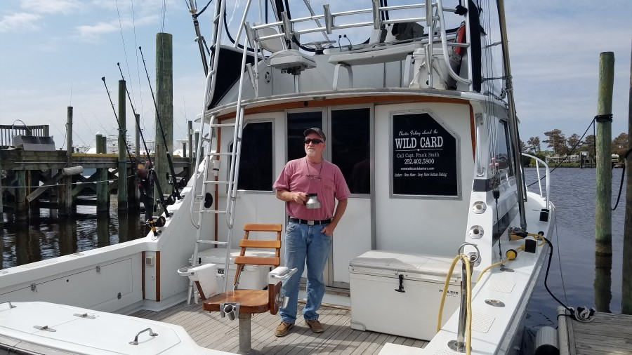 Captain Frank Smith aboard his boat the Wild Card