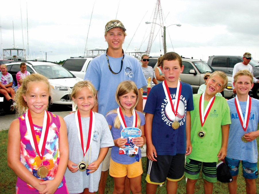 Miss Oregon Inlet youth fishing tournament participants with their awards