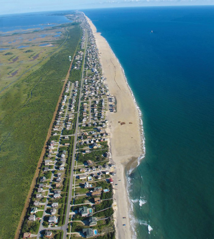 Aerial view of South Nags Head beaches