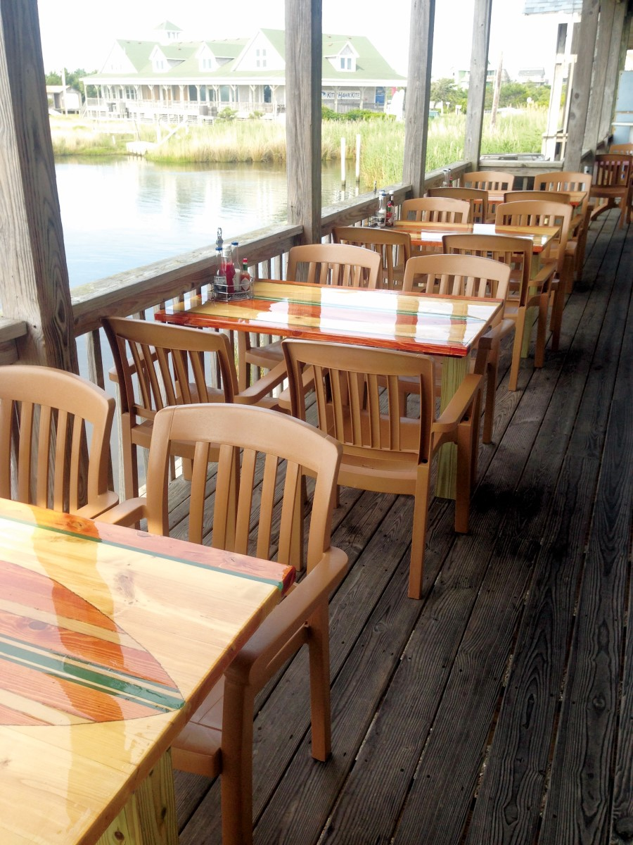 Outdoor seating at Open Water Grill in Hatteras, NC