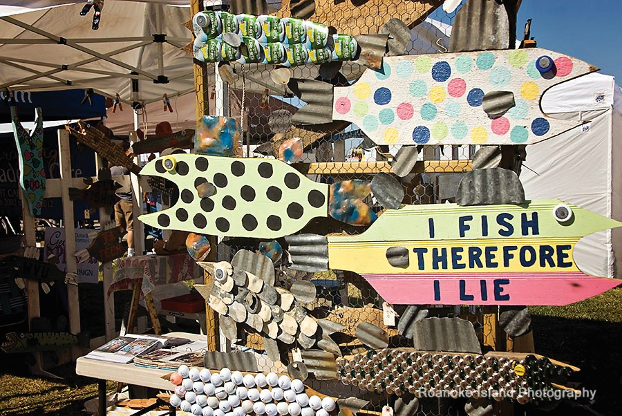 Vendor display of goods for sale at the Outer Banks Seafood Festival