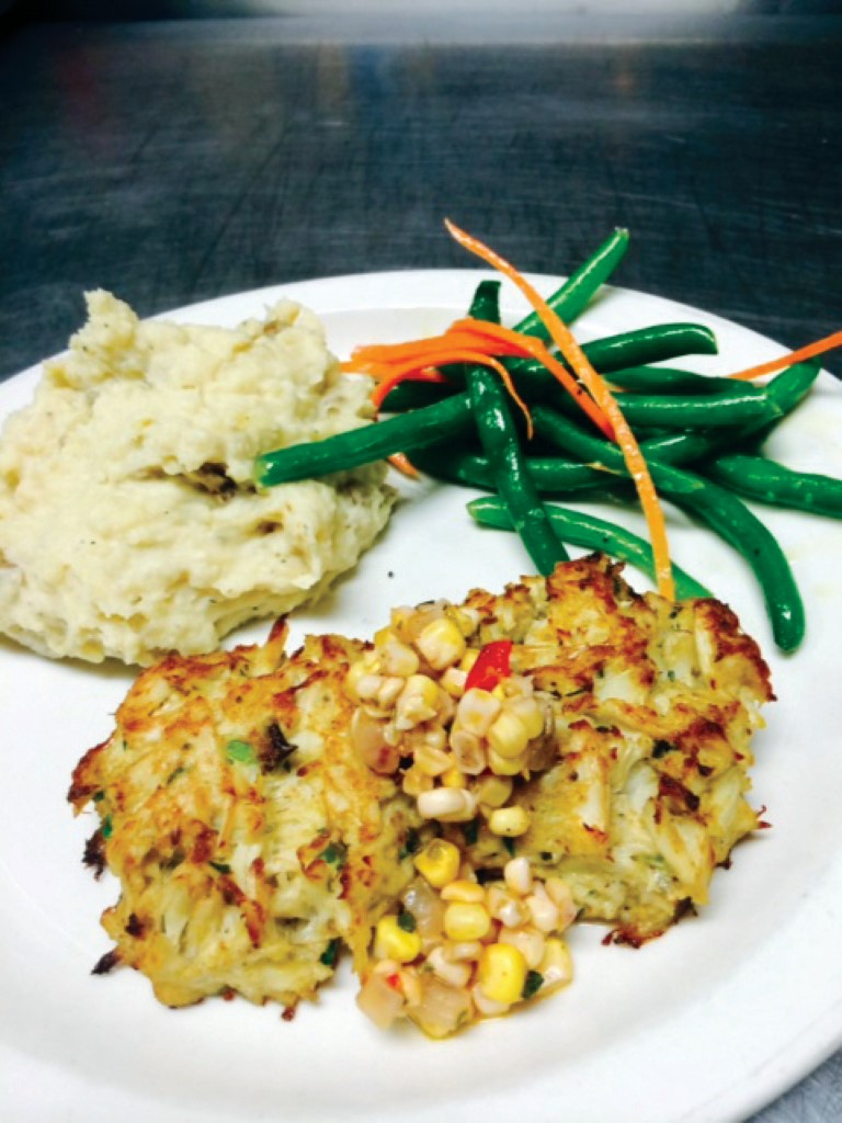 Mike Dianna's famous broiled crab cakes with Currituck corn salsa