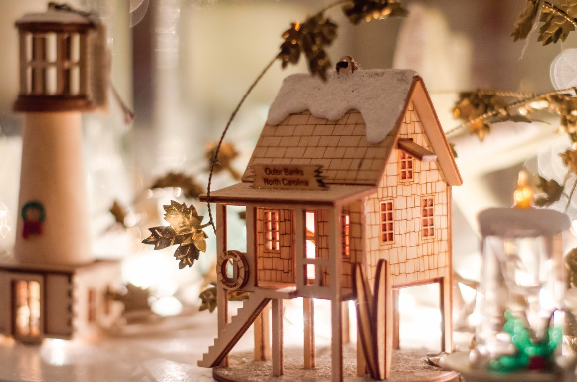 Wooden Outer Banks gingerbread house