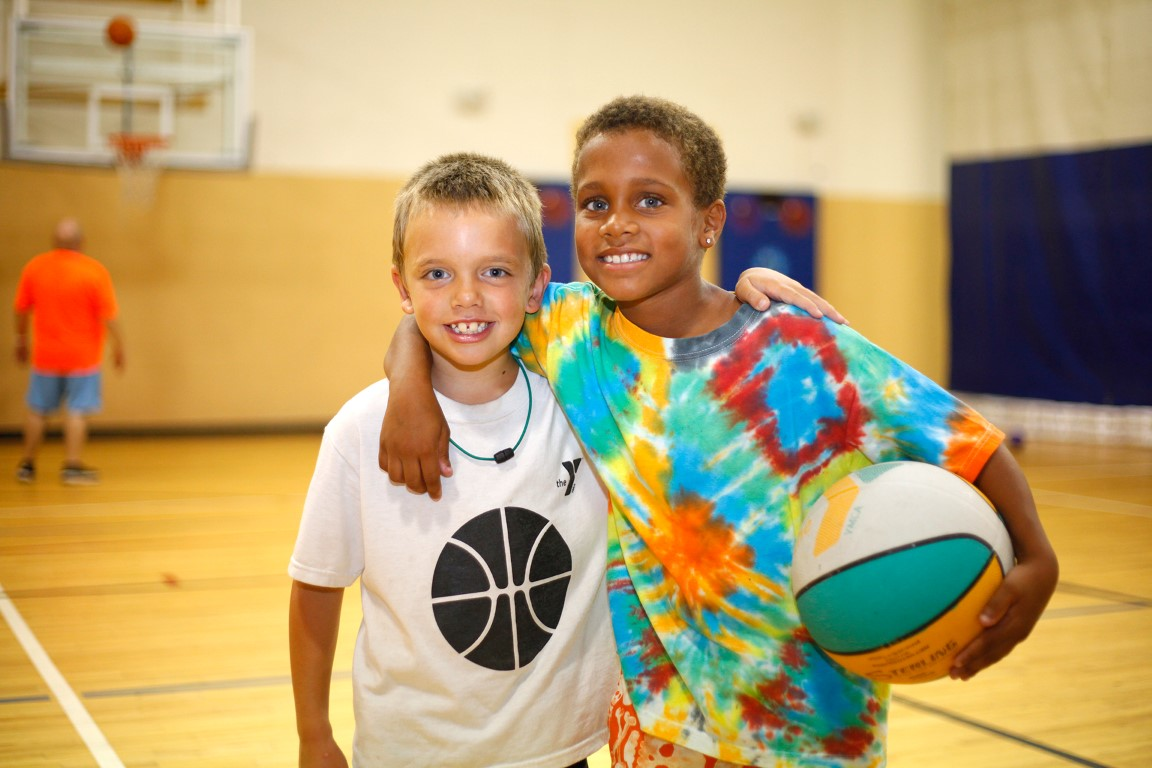 Kids on basketball court at Outer Banks Family YMCA