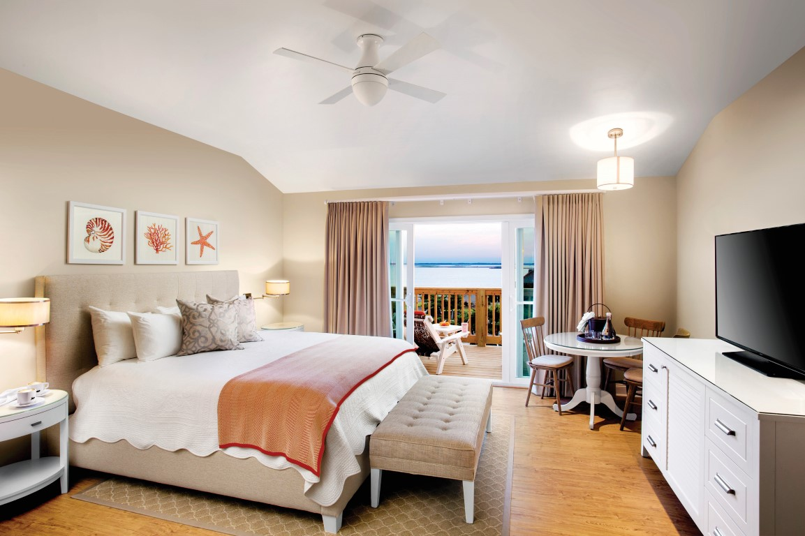 A guest room with an ocean view at Sanderling Resort in Duck NC