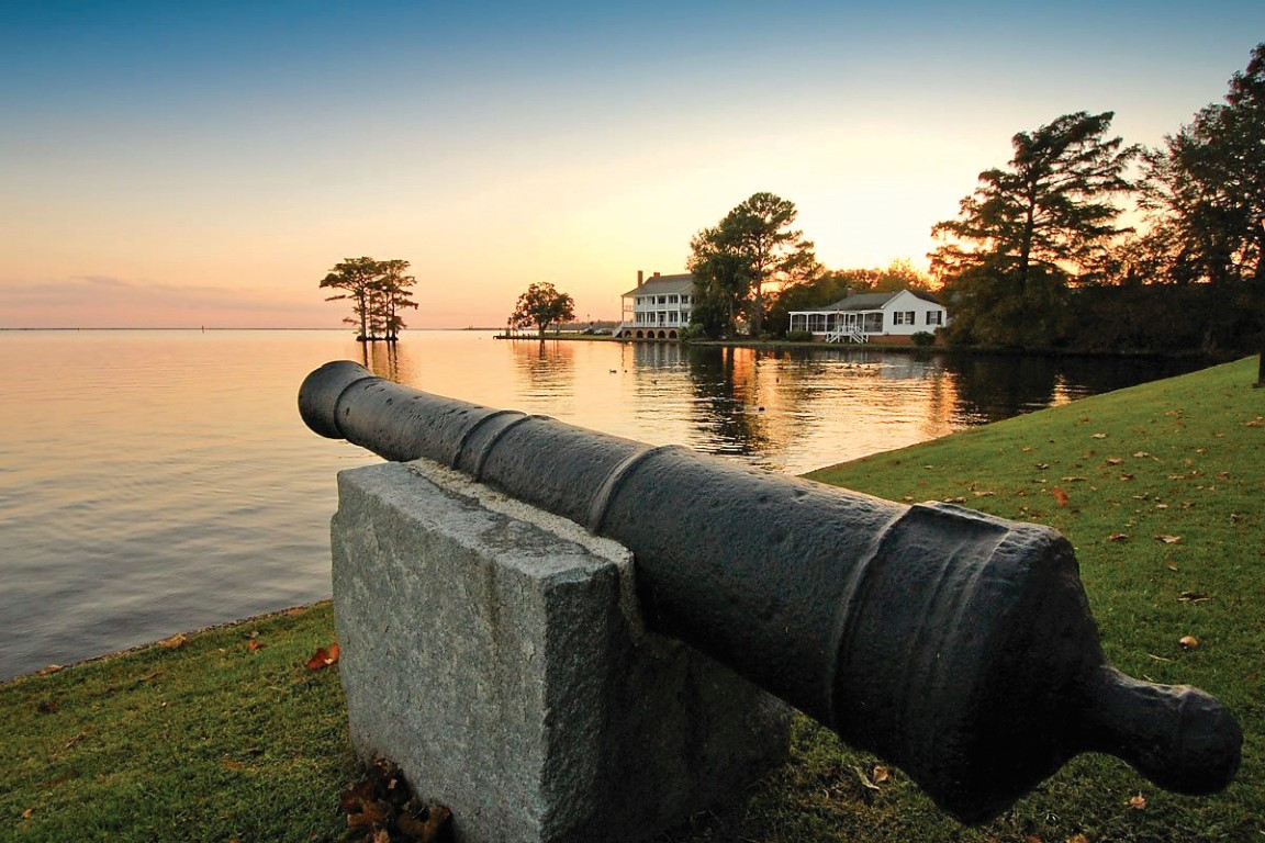 Edenton waterfront view with cannon in foreground
