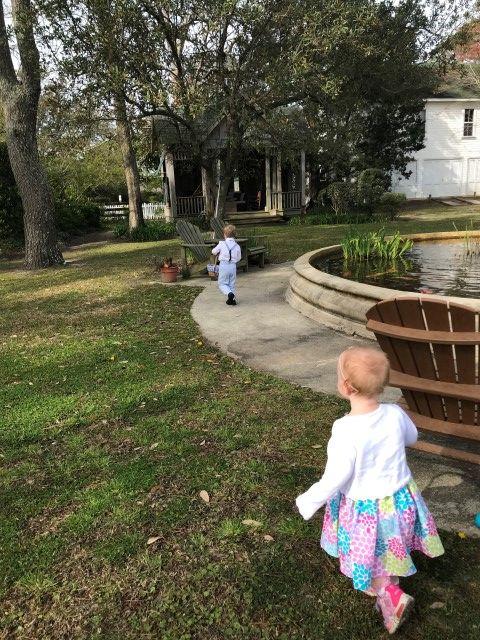 Kids Playing in the Inn's Garden