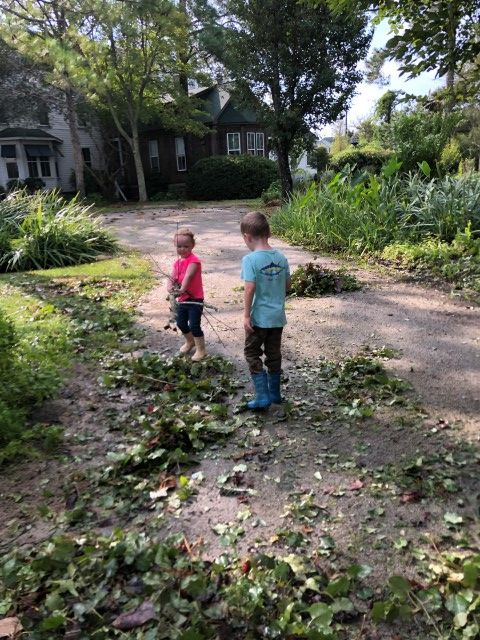 Kids Cleaning Up Debris and Branches