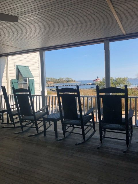Rocking Chairs on Porch Looking Towards Water