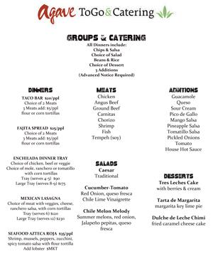Agave Catering Menu