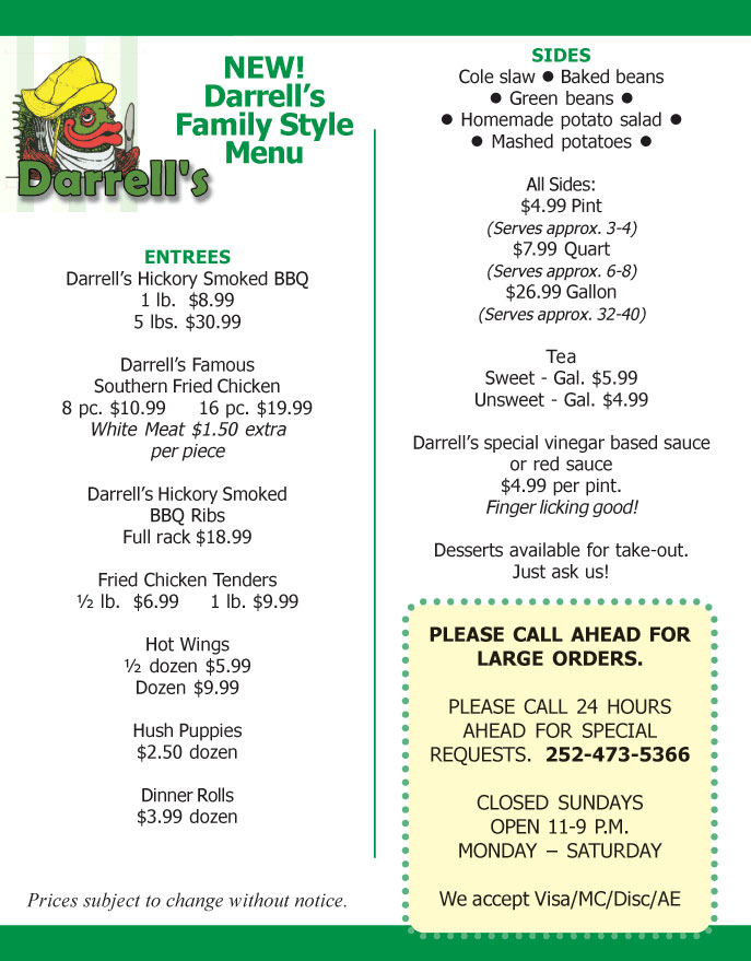 Darrell S Take Out Menu