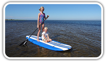 Two kids on a Standup Paddleboard