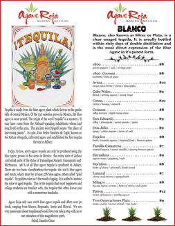 Agave Roja Tequila Menu