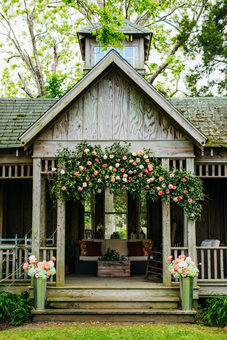 Outdoor Gazebo Decorated with Flowers
