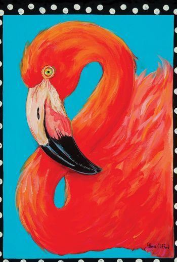 Islander Flags, Framed Flamingo
