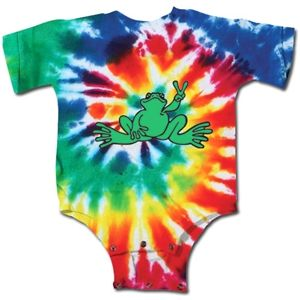 Kitty Hawk Kites, Peace Frogs Tie Dye Short Sleeve Infant Onesie