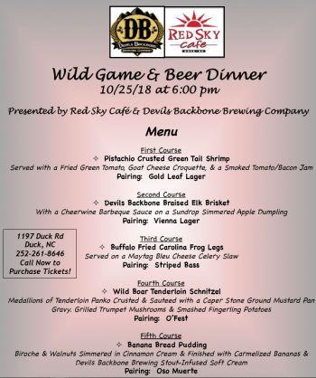 Red Sky Café, Wild Game & Beer Dinner