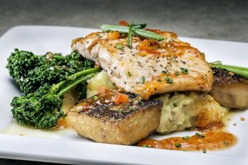 Rooster's Southern Kitchen, Cast-Iron Atlantic Salmon