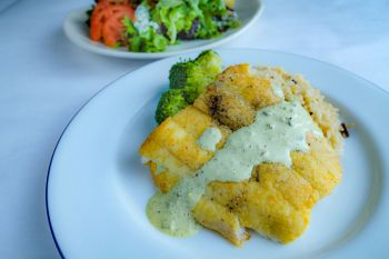 Mike Dianna's Grill Room, Cornmeal Encrusted Local Flounder