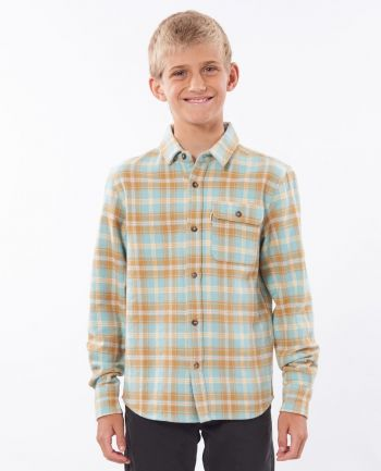 Outer Banks Boarding Company, Rip Curl Boys Saltwater Culture Check Longsleeve Shirt Mustard