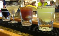 Selection of tasty oyster shooters