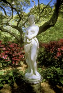 Virginia Dare statue at The Elizabethan Gardens in Manteo, NC
