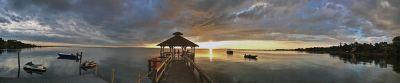 Sunset over Inn at Corolla Light