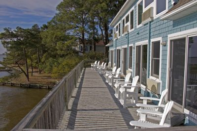 Waterfront view from the deck at Inn at Corolla Light