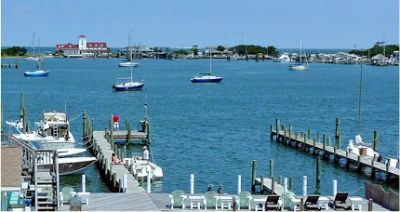 View of Silver Lake harbor from Ocracoke Harbor Inn