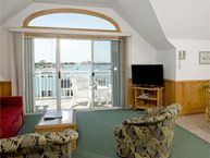 Entertainment area of a suite at Ocracoke Harbor Inn