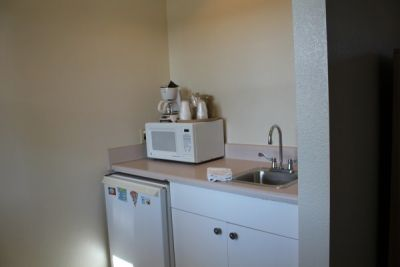 Kitchenette of poolside room at Pony Island Motel